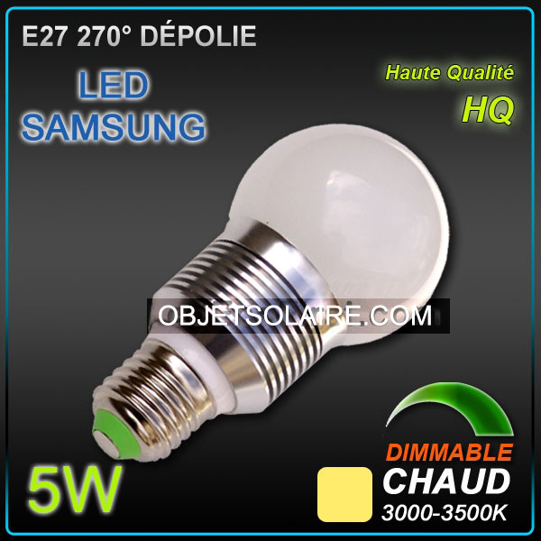 ampoule led samsung e27 5w dimmable 3200 k ampoule led e27 objetsolaire. Black Bedroom Furniture Sets. Home Design Ideas