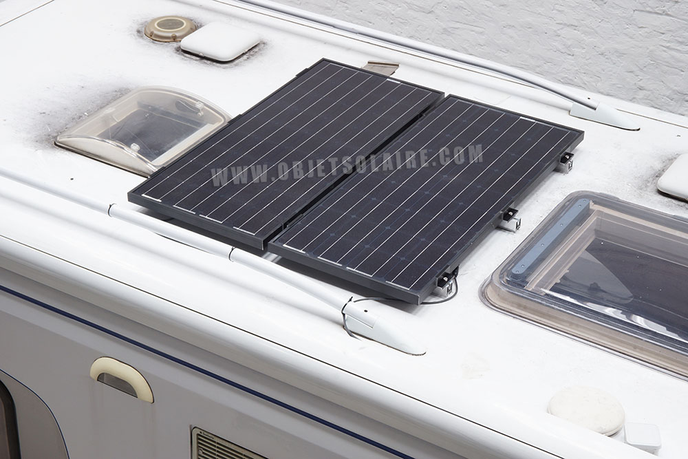 kit solaire camping car 100w 12 v kit panneau solaire objetsolaire. Black Bedroom Furniture Sets. Home Design Ideas