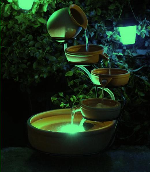Fontaine solaire cascade c ramique verte batterie et led fontaines photovoltaiques objetsolaire - Fontaine solaire exterieur ...