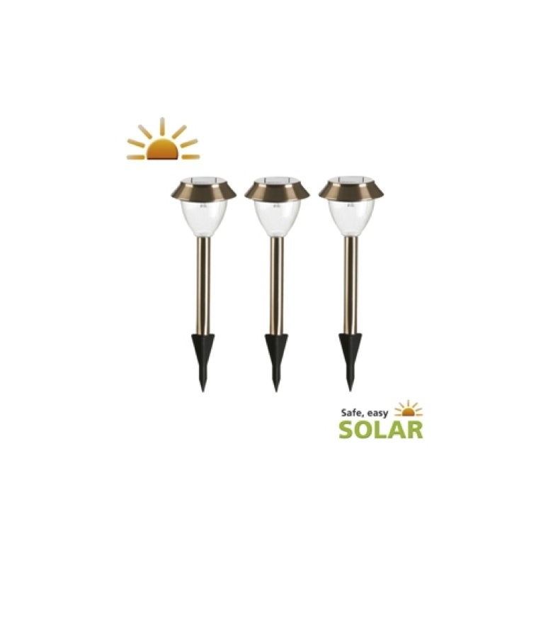 lampes solaires de jardin cuivre milos lot de 3 balise. Black Bedroom Furniture Sets. Home Design Ideas