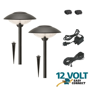 kit complet 2 lampes toledo 12v transfo basse tension eclairage easy connect objetsolaire. Black Bedroom Furniture Sets. Home Design Ideas