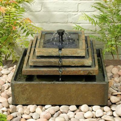 fontaine solaire cascade pierre naturelle 4 niveaux fontaines solaires objetsolaire. Black Bedroom Furniture Sets. Home Design Ideas