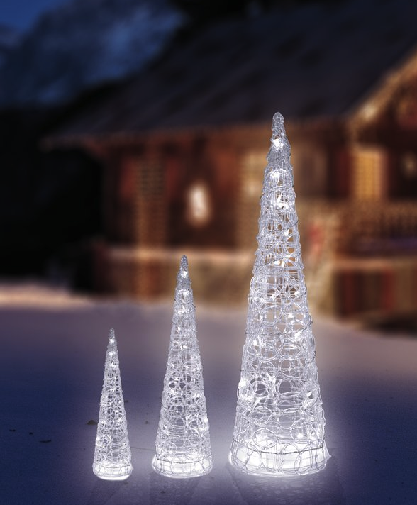 Sapins solaires lumineux cone noel lot de 3 d coration for Decoration noel exterieur d occasion