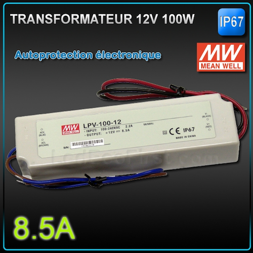 Transformateur led 12v meanwell 100w ip67 eclairage led for Transformateur 12v exterieur