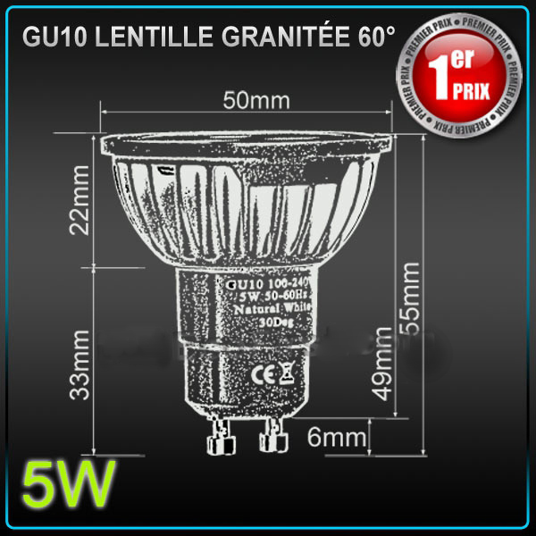 ampoule led gu10 epistar 5w 220v eclairage led objetsolaire. Black Bedroom Furniture Sets. Home Design Ideas