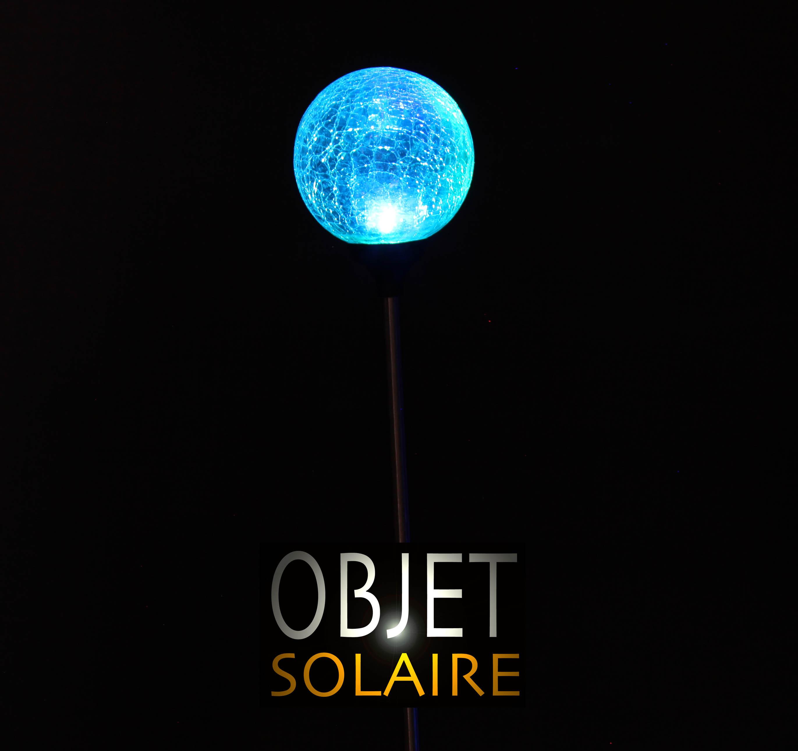 Boule solaire verre craquel sur tige lot de 2 for Boule en verre pour lampe