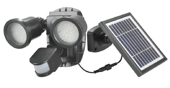 spot solaire puissant double 600 lumens d tecteur de. Black Bedroom Furniture Sets. Home Design Ideas