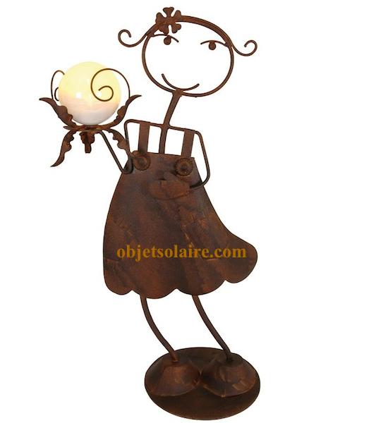 Dame solaire en fer forg objet solaire sujet for Objet deco jardin fer forge