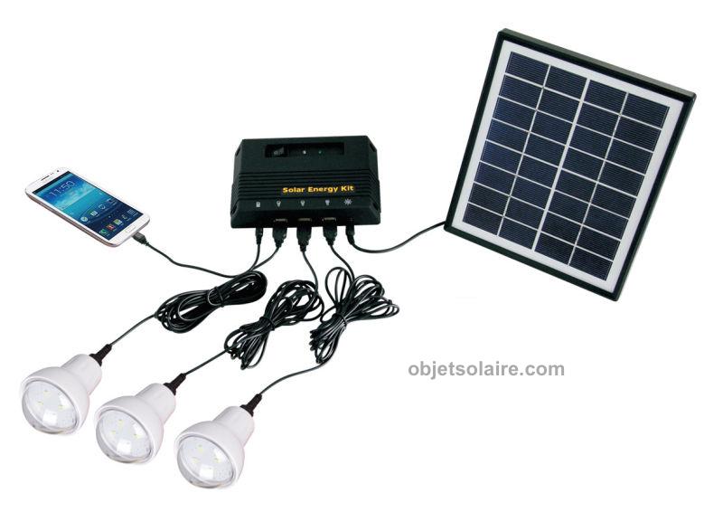 kit d 39 eclairage solaire 4 w 3 lampes led kit eclairage. Black Bedroom Furniture Sets. Home Design Ideas