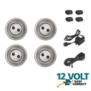 Kit Complet 4 Spots Led Encastrables 12V Easy Connect Luna Transfo