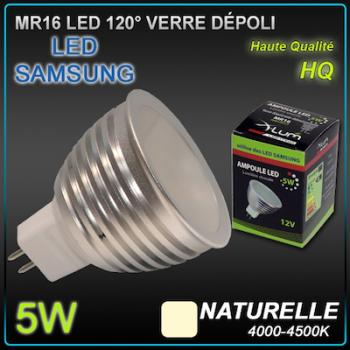Ampoule LED MR16 12V-24v  5W Dépolie 120° LED Samsung