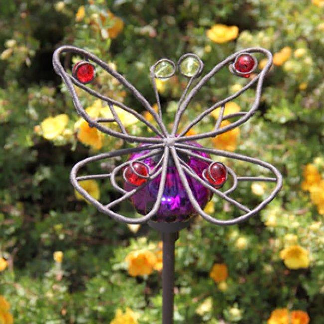 Papillon solaire globe sur tige butterfly d coration lampe solaire objetsolaire - Papillon sur tige ...