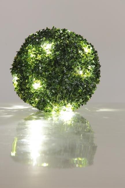 Boule solaire buis 200mm d coration solaire guirlande - Boule deco exterieur ...