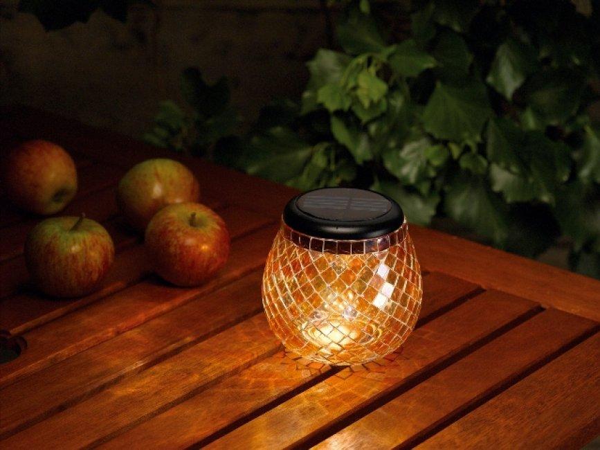 lampe solaire de table verre mosa qu lanterne d coration solaire objetsolaire. Black Bedroom Furniture Sets. Home Design Ideas