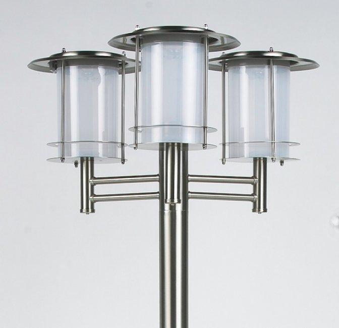Lampadaire solaire puissant inox 3 t tes bt eclairage for Lampadaire exterieur inox