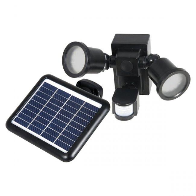 Spot solaire puissant 2 lampes 560 lumens d tecteur de for Eclairage exterieur solaire professionnel