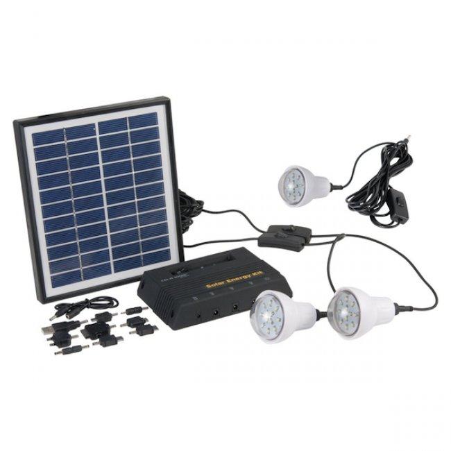 kit d 39 clairage solaire 4 w 3 lampes led kit eclairage. Black Bedroom Furniture Sets. Home Design Ideas