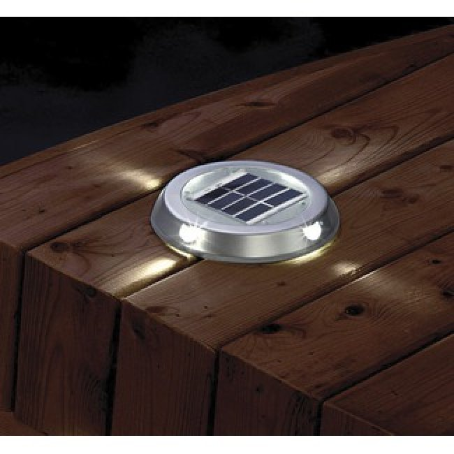 Spot solaire encastrable de surface 4 leds paves spots for Led solaire terrasse