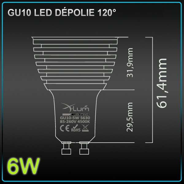 spot led gu10 samsung 6w dimmable eclairage led. Black Bedroom Furniture Sets. Home Design Ideas