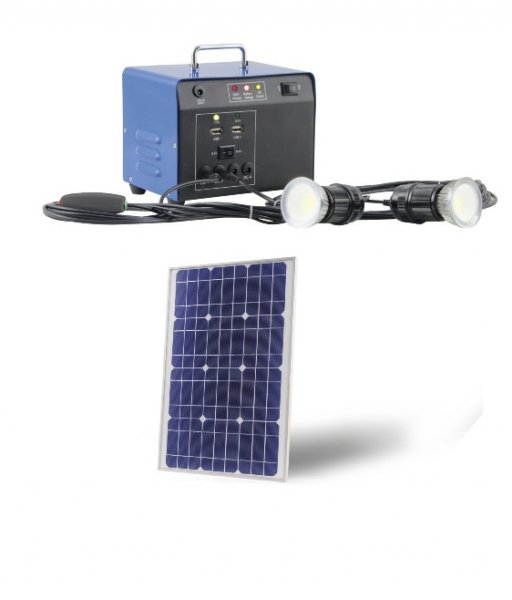 Kit d'Eclairage Solaire Heit 20W 12V 2 Lampes 3W Chargeur