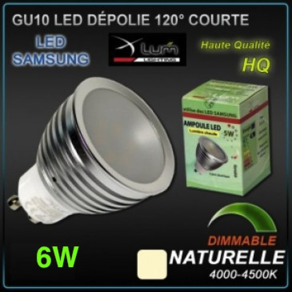 spot led gu10 samsung 6w dimmable eclairage led objetsolaire. Black Bedroom Furniture Sets. Home Design Ideas