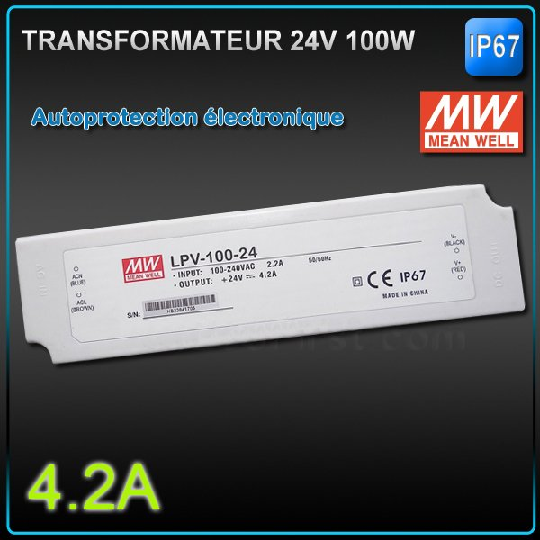 Transformateur Led 24V MEANWELL 100W