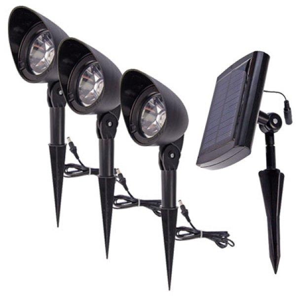 spots solaires de jardin lugo lot de 3 eclairage spot. Black Bedroom Furniture Sets. Home Design Ideas