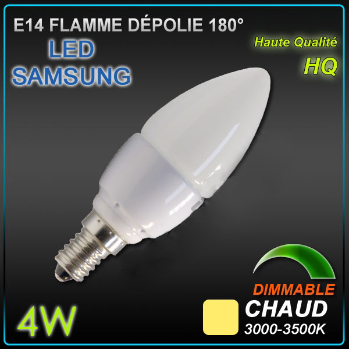 ampoule led e14 4 w flamme samsung dimmable ampoule led culot e14 objetsolaire. Black Bedroom Furniture Sets. Home Design Ideas
