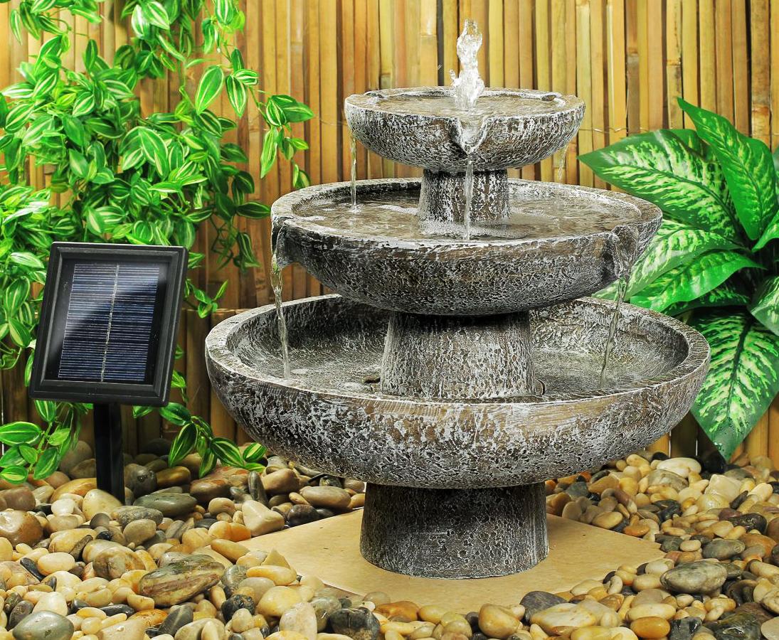 Fontaine solaire cascade 3 niveaux grise -fontaines photovoltaïques |  Objetsolaire