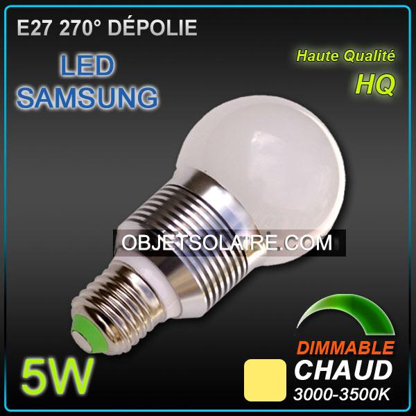 ampoule led samsung e27 5w dimmable 3200 k ampoule led e27 objetsolaire. Black Bedroom Furniture Sets. Home Design Ideas