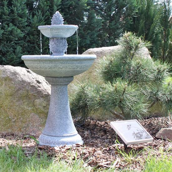 fontaine solaire cascade bain d 39 oiseaux 2 niveaux grise fontaines solaires objetsolaire. Black Bedroom Furniture Sets. Home Design Ideas