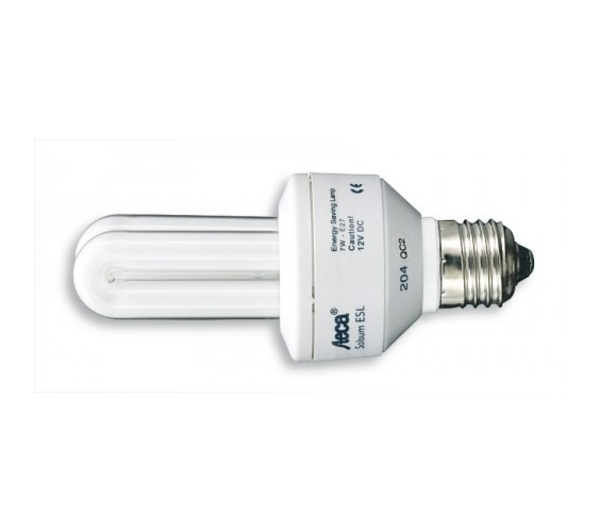 ampoule fluocompacte dc 12v 7w e27 sur le site internet objetsolaire. Black Bedroom Furniture Sets. Home Design Ideas