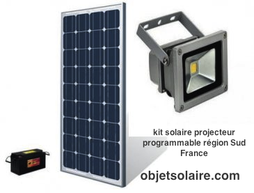 projecteur solaire puissant 10w led kit 4h programmable r gion sud france objetsolaire. Black Bedroom Furniture Sets. Home Design Ideas