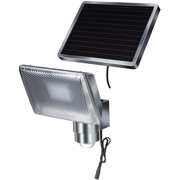 projecteur solaire puissant 350 lumens aluminium projecteurs solaires objetsolaire. Black Bedroom Furniture Sets. Home Design Ideas