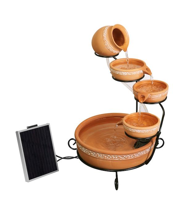 Fontaine solaire cascade terra-cotta batterie et leds - Fontaines ...