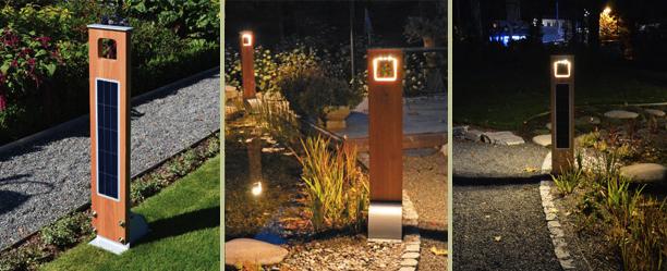 Borne solaire puissante bois 204 lumens eclairage solaire for Luminaire exterieur puissant
