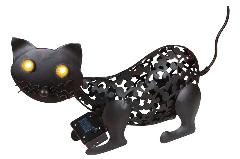 Chat solaire animaux solaires lampe d coration solaire for Chat deco jardin