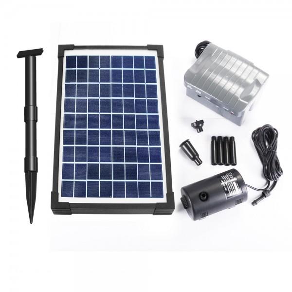 pompe solaire jet d 39 eau de bassin 20w vld batterie programmable objetsolaire. Black Bedroom Furniture Sets. Home Design Ideas