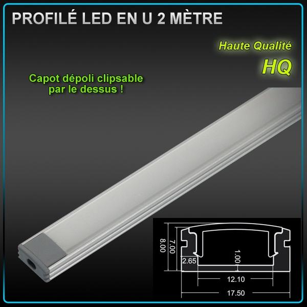 Profil aluminium ruban led en u 2 m tres eclairage led - Profile alu en u ...