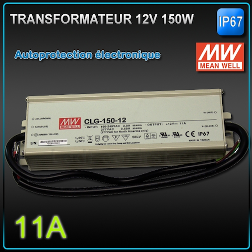 Transformateur led 12v meanwell 150w ip67 eclairage led for Transformateur exterieur 12v