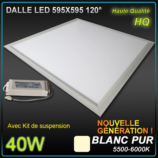 dalle led faux plafond 60 x 60 40w 5500 6000 k clairage led plafonnier objetsolaire. Black Bedroom Furniture Sets. Home Design Ideas