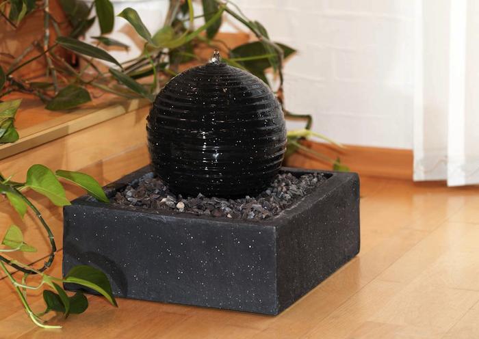 Fontaine Solaire Design boule granit noire Batterie Leds ...
