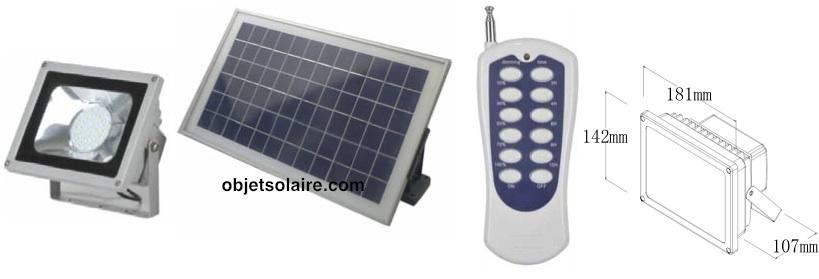Projecteur solaire puissant led 720 lumens timer for Telecommande eclairage exterieur