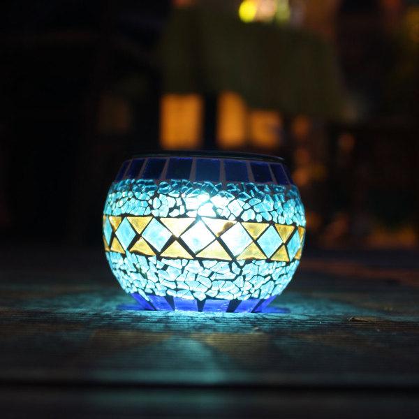 lampe solaire de table verre mosa qu bleue lanterne. Black Bedroom Furniture Sets. Home Design Ideas