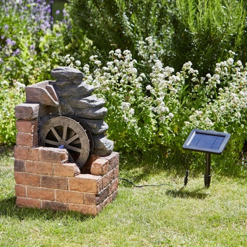 fontaine solaire roue de moulin fontaines cascades solaires jardin objetsolaire. Black Bedroom Furniture Sets. Home Design Ideas