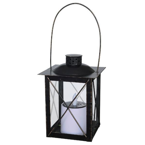 lanterne solaire vintage noire led flamme effet bougie d coration solaire objetsolaire. Black Bedroom Furniture Sets. Home Design Ideas