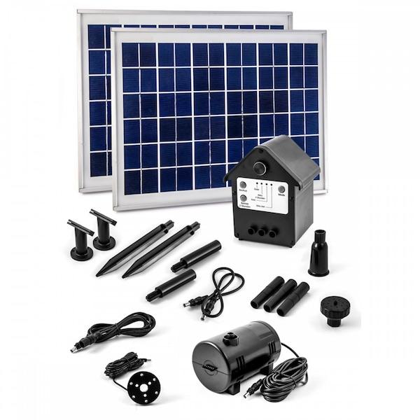 pompe fontaine solaire jet d 39 eau bassin batterie et leds. Black Bedroom Furniture Sets. Home Design Ideas