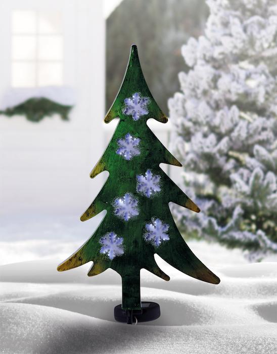 Sapin Solaire Métal Flocons Noël