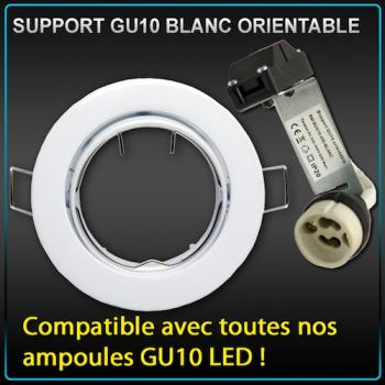Photo Support de spot rond GU10 LED blanc avec douille
