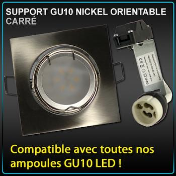 Support de Spot Carré Nickel Brossé GU10 LED avec Douille